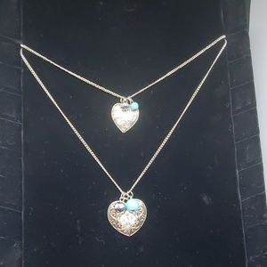 Silver Two Layer Heart Love Necklace